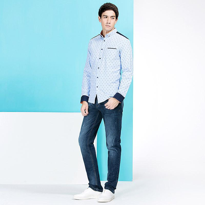 青年时尚男装_柒牌男士长袖衬衫男长袖青年商务修身休闲时尚衬衣春季男装衬衣
