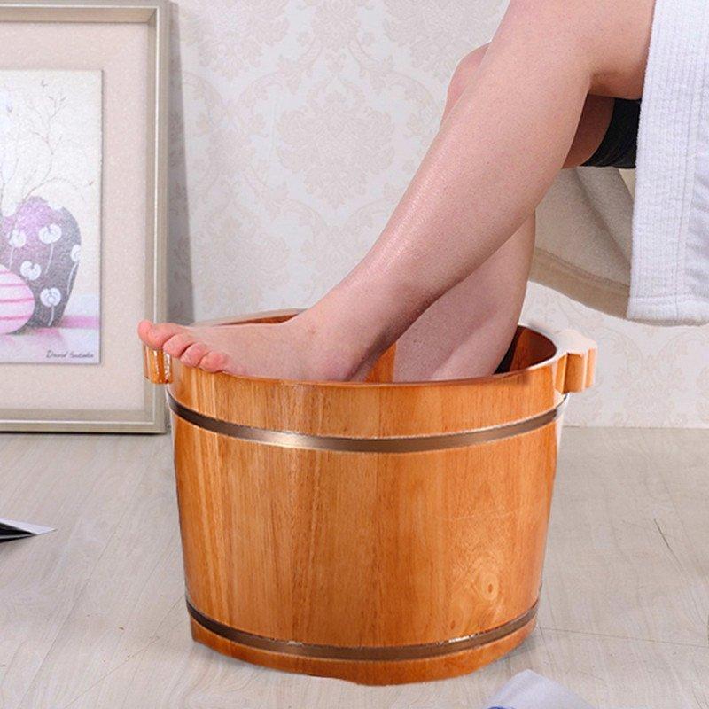 草木香橡木足浴桶洗脚木盆 柚木色足疗桶高端泡脚木桶