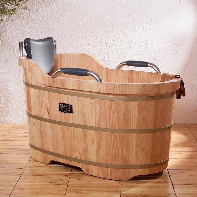 草木香橡木洗浴木桶浴桶 成人木质浴桶泡澡桶厚洗澡沐浴桶泡浴盆