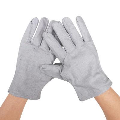 谋福 双层帆布手套耐磨工业机修防护电焊工劳保工作者手套 一打10副