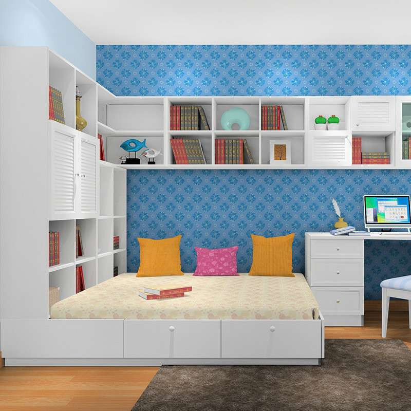 尚品宅配 韩式书房青少年/儿童房 个性定制儿童衣柜床 榻榻米书柜