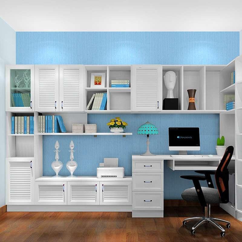 尚品宅配 转角书柜 定制韩式连体书桌柜 电脑桌 书房家具组合