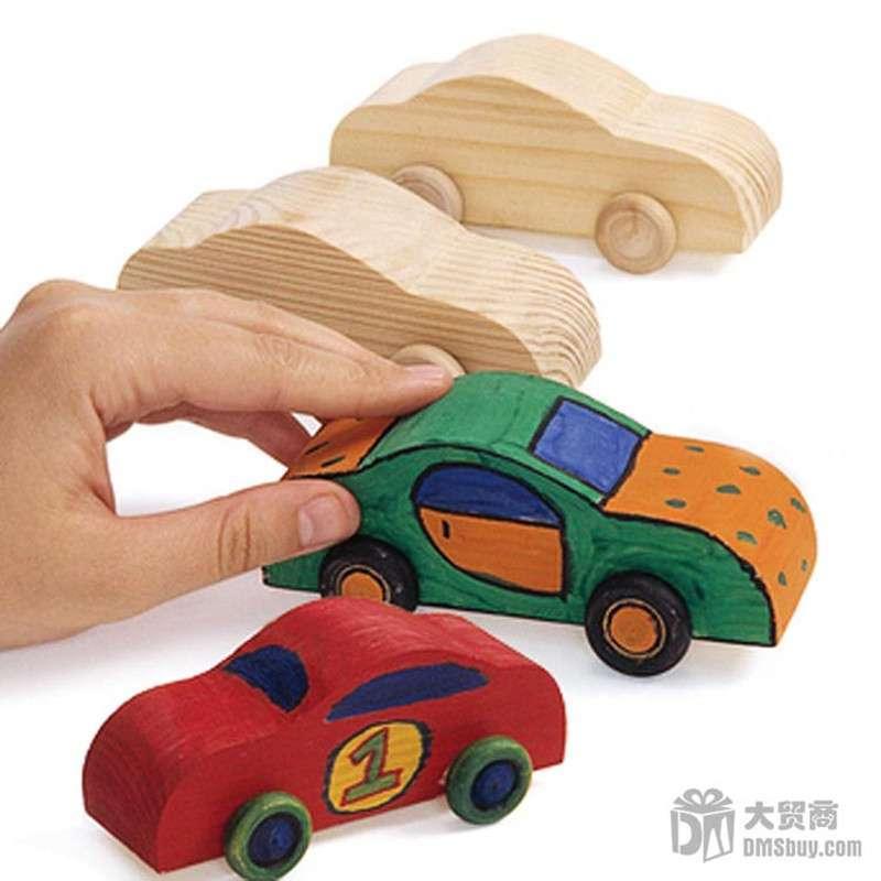 大贸商 幼儿园手工diy制作 手绘小汽车 涂画彩绘 白坯