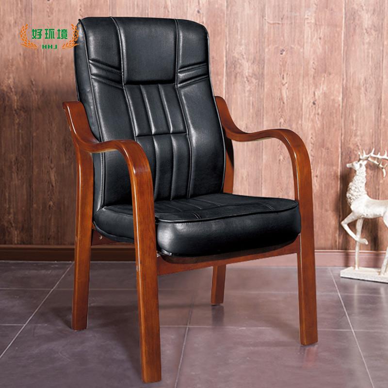 好环境家具实木脚架会议椅 办公室西皮班前椅固定四脚椅子办公椅木质