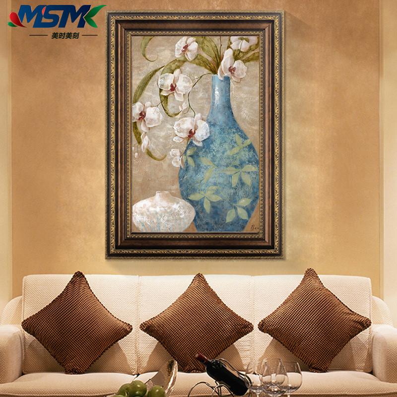 发财鹿美式乡村风格客厅装饰画简欧式沙发背景墙挂画酒店壁画餐厅有框