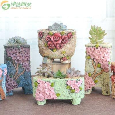 包邮 韩式手绘花盆 复古水泥多肉花盆 手绘立体浮雕绿植花盆美观 型号