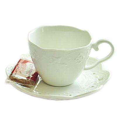欧式出口奶白浮雕镂空陶瓷器咖啡杯碟.森系小