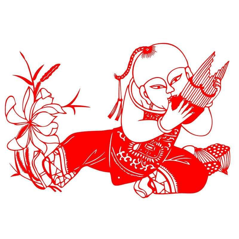 吉祥门贴对联春联剪纸植绒中式仿窗花剪福字拉花鸡装饰画不干胶设计