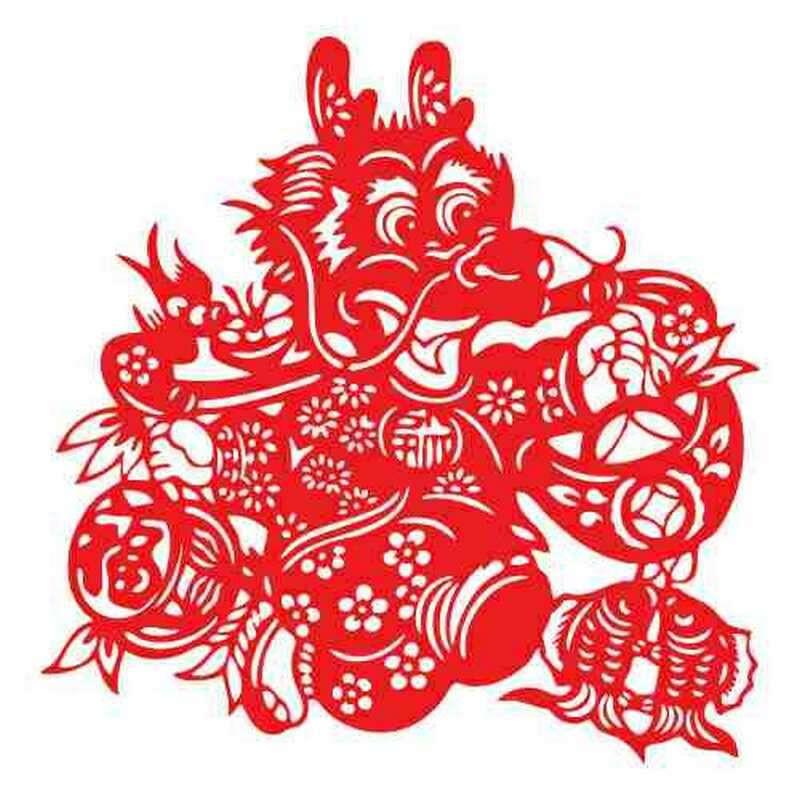 福龙送福cak2205手工福龙剪纸窗花贴纸作品窗花过年绒新年福字中国结