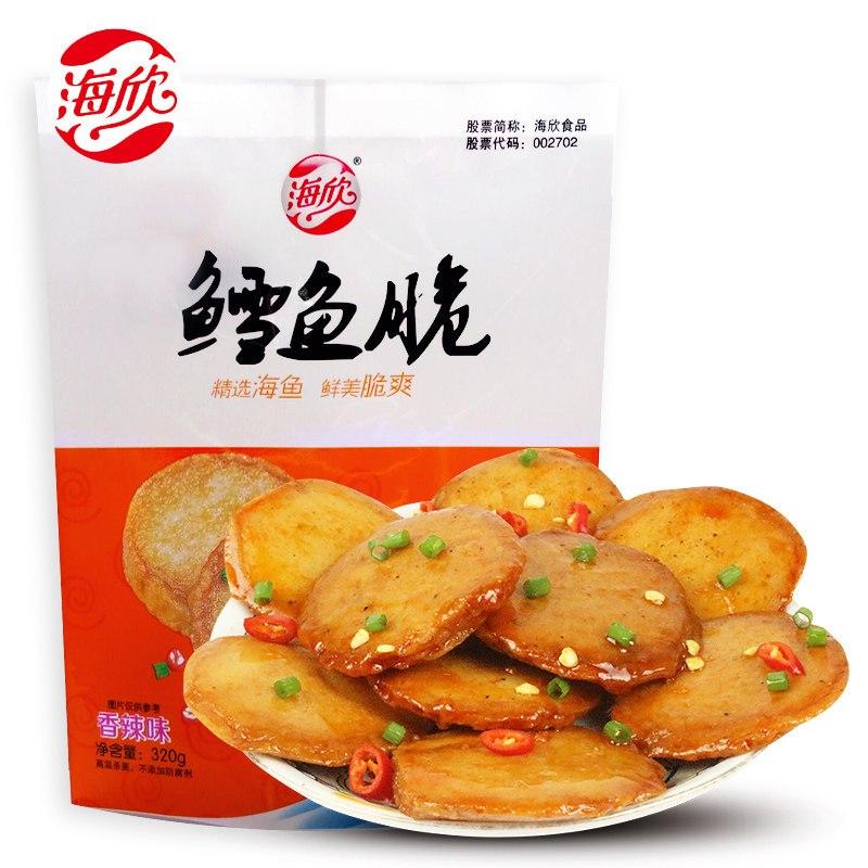 海欣鳕鱼脆香辣味320g 鱼豆腐鱼板烧鳕鱼肉制独立小包装 海鲜零食品图片