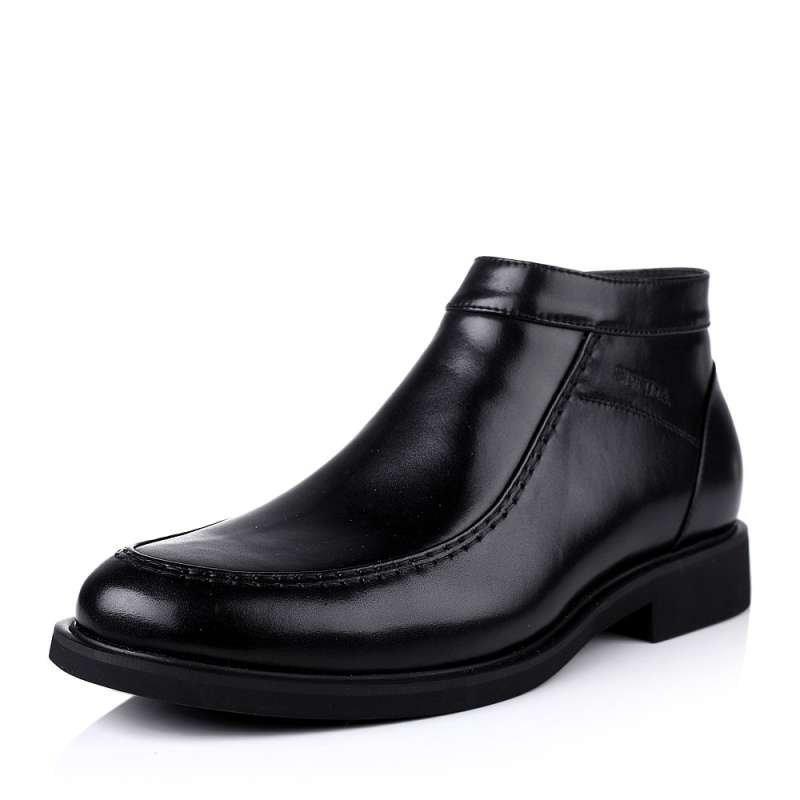 senda/森达2013冬季黑色牛皮男靴子a8991dd3绒里商务正装上班男冬靴