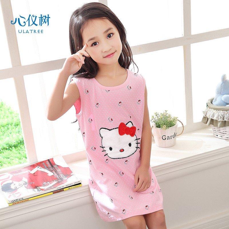 儿童睡衣夏女童薄款纯棉睡裙休闲可爱卡通连体衣家居服 多款可选