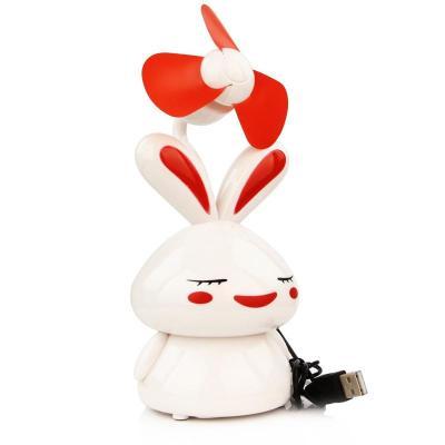 uplus 卡通兔子 usb/电池两用风扇 迷你小风扇 笔记本