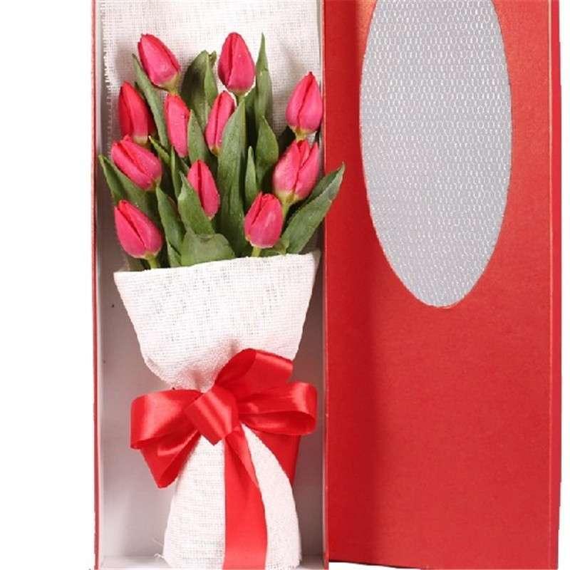 全国鲜花速递 11枝红色郁金香长方形礼盒