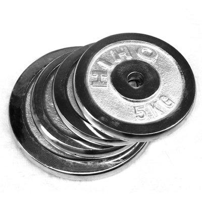 华亚 电镀杠铃/哑铃片2.5kg 5kg 7.5kg 10kg 15kg 铸铁材质 小孔摇臂/家用健身器材
