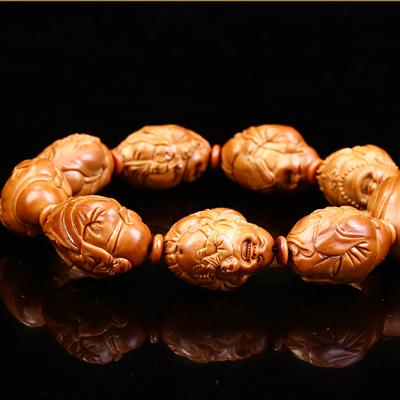 橄榄核雕荷叶童子弥勒佛手串 八大弥勒 文玩把玩橄榄胡手串手链
