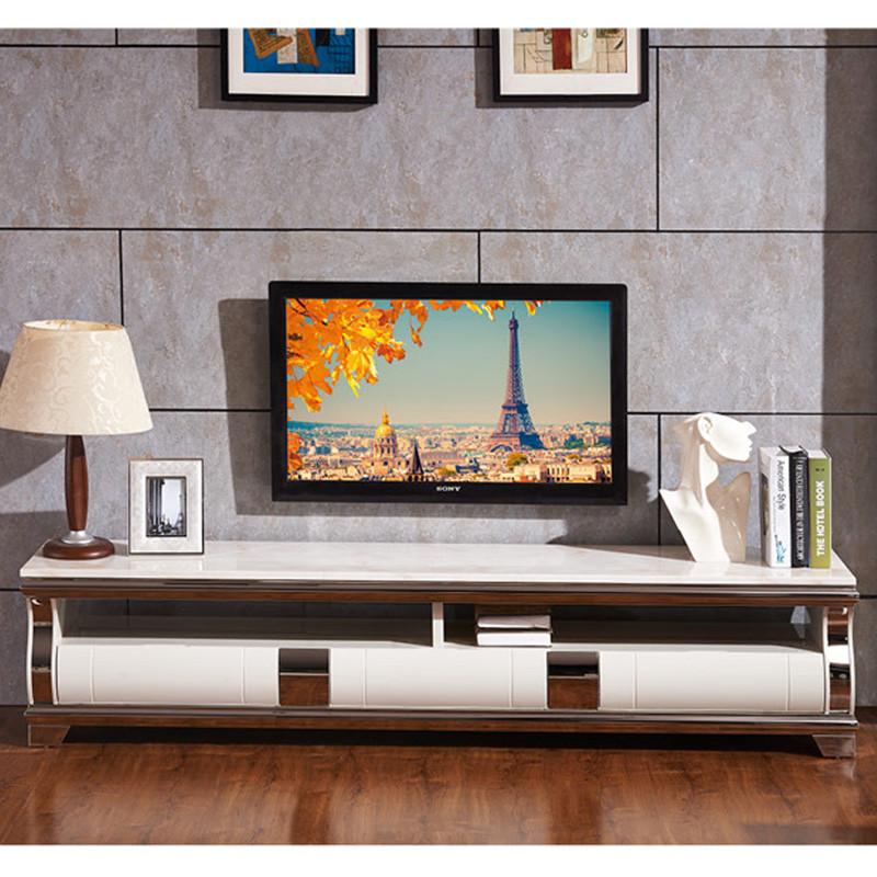 俏夫人 大理石电视柜 简约欧式电视柜 组合 不锈钢黑色地柜