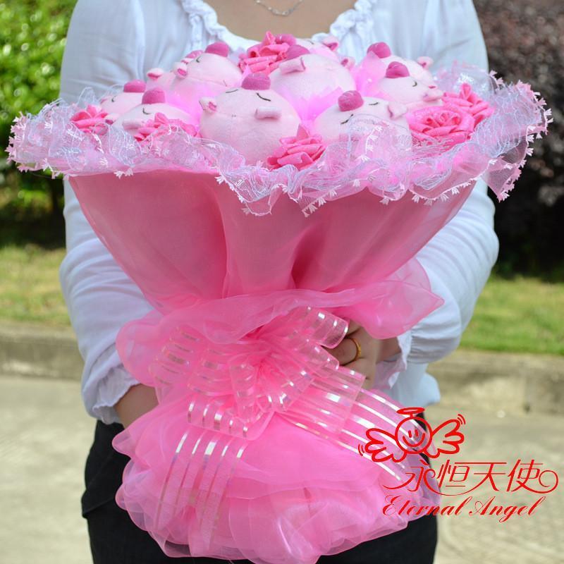 绿盒子 节日礼物卡通花束粉色玫瑰花加11只咪咪猪 手捧公仔花束 娃娃