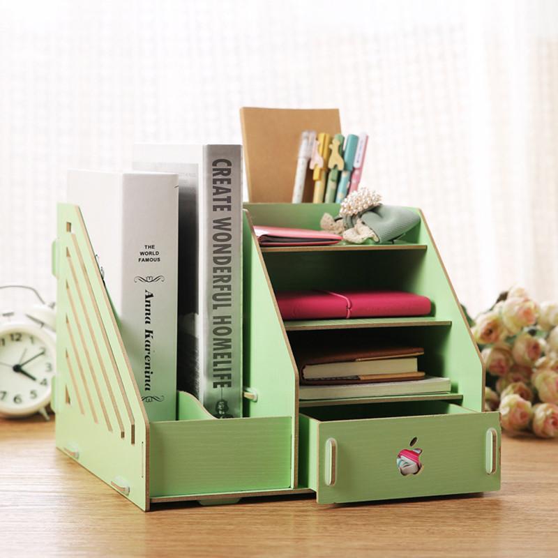 绿盒子 创意木质桌面收纳盒 diy办公用品木质文件夹化妆品收纳盒 ry12图片