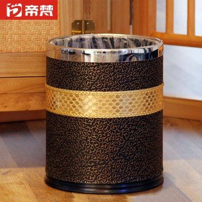垃圾桶双层金属垃圾筒高档创意家用客厅新中式带盖