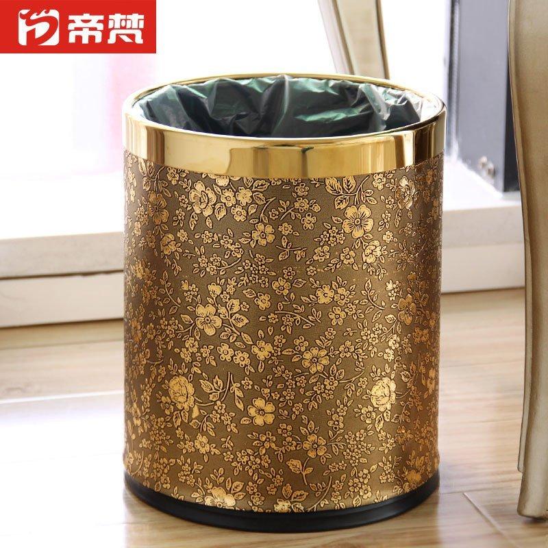 欧式高档垃圾桶筒时尚创意双层家用客厅无盖美式大号