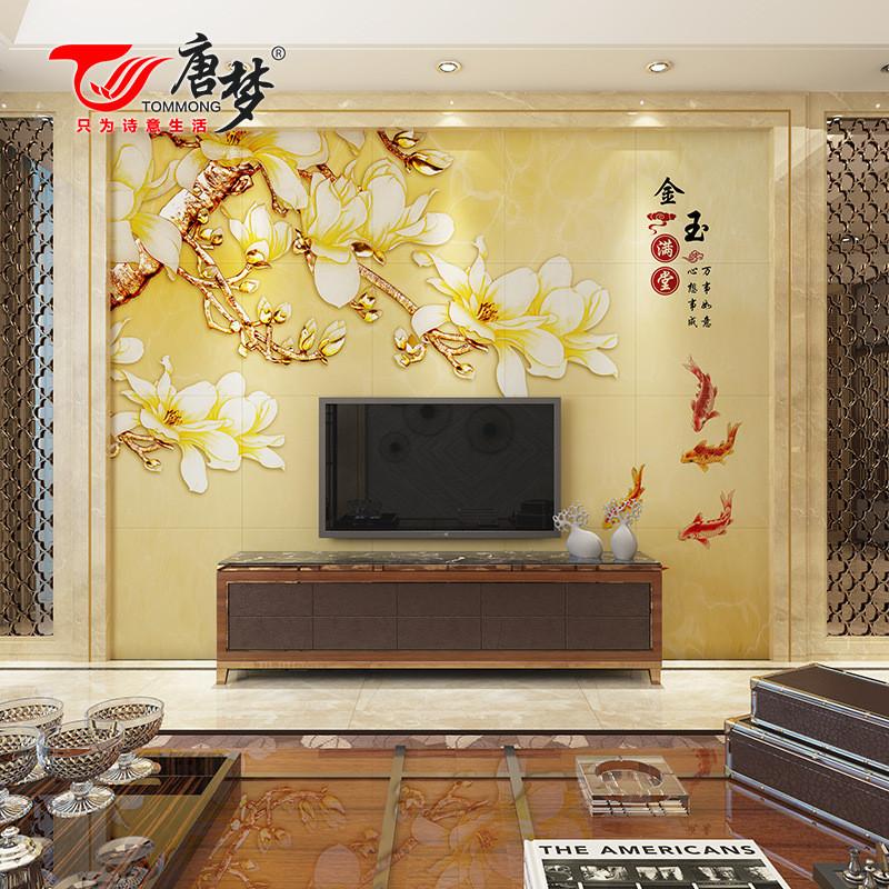唐梦 瓷砖背景墙3d雕刻中式客厅电视微晶石壁画影视墙