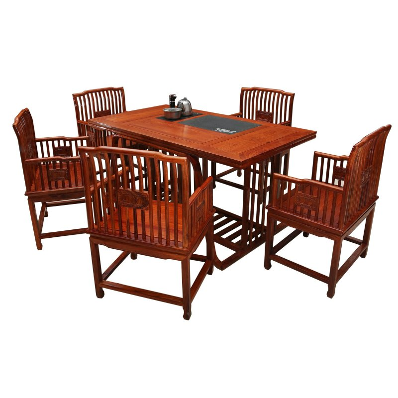 茶桌椅组合全实木茶几客厅仿古花梨木组合家具泡茶桌茶艺桌茶台长方形