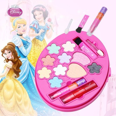 迪士尼公主化妆盒眼影口红组合套装礼品儿童玩具化妆品彩妆盒