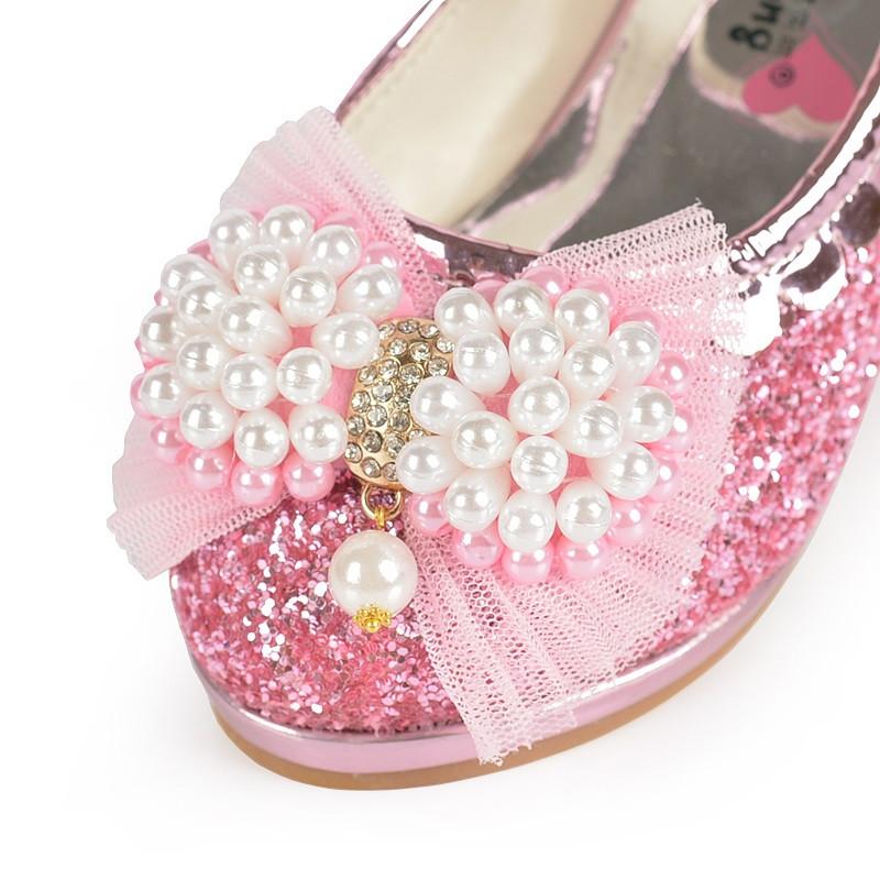麦宝创玩 春秋女童皮鞋高跟鞋小学生表演鞋67儿童公主