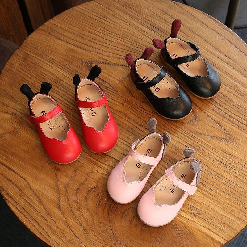 hugbear新款可爱宝宝鞋子兔耳朵1-3岁鞋女童皮鞋小童公主单鞋牛皮春秋