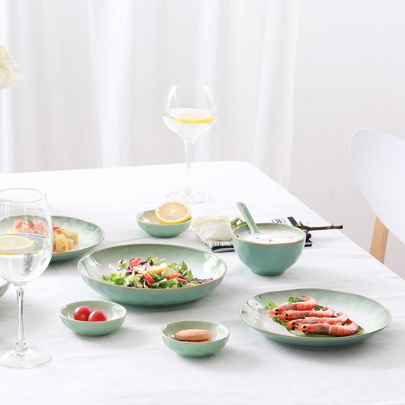 【玉泉】简约餐具套装 欧式盘子西式陶瓷碗碟套装 中式家用碗盘