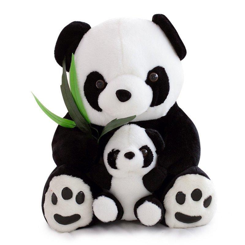 悦达 可爱抱竹子母子熊猫公仔毛绒玩具布偶抱枕大号玩偶布娃娃生日