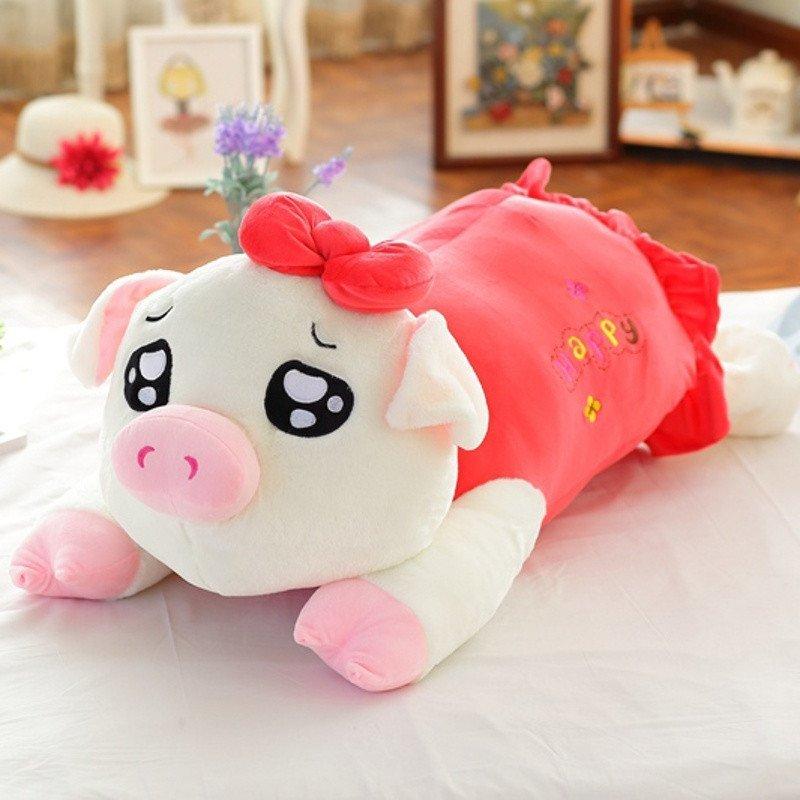 悦达 创意趴趴猪猪睡觉抱枕长条靠垫毛绒玩具布娃娃玩偶生日礼物女生