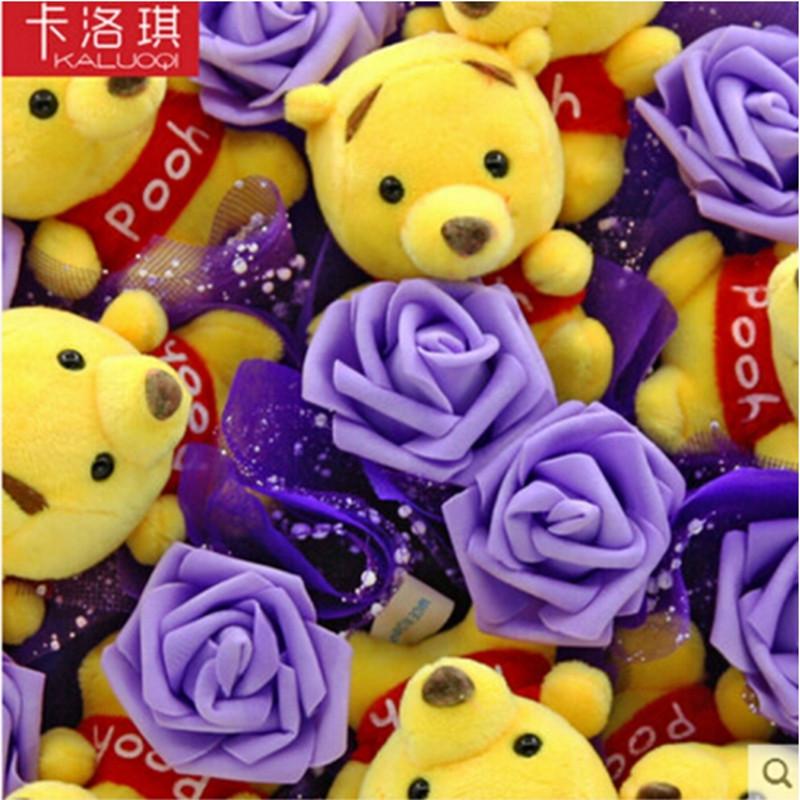 花束生日礼物七夕节礼物娃娃花小熊花束 9只维尼 9朵花紫色圆形包装