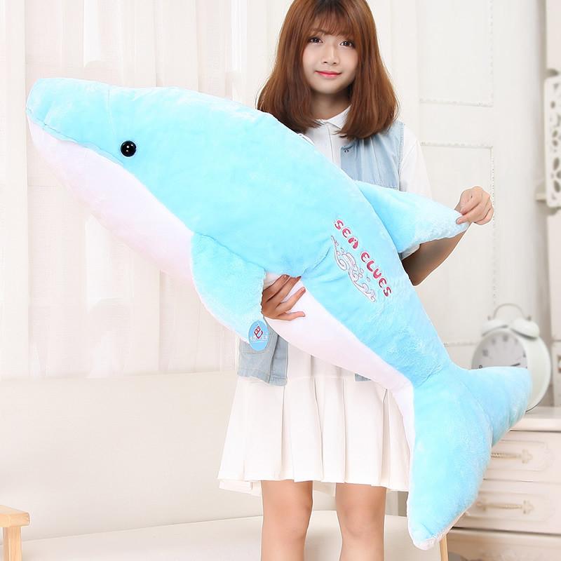 三千易 海豚毛绒玩具创意公仔洋娃娃抱枕睡觉 可爱超大鱼布偶 绒毛