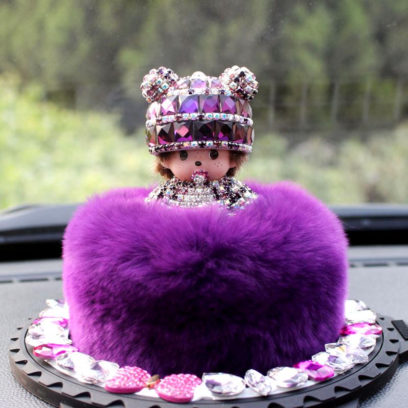 可爱车内饰品汽车香水摆件獭兔毛绒蒙奇奇车载女士礼物
