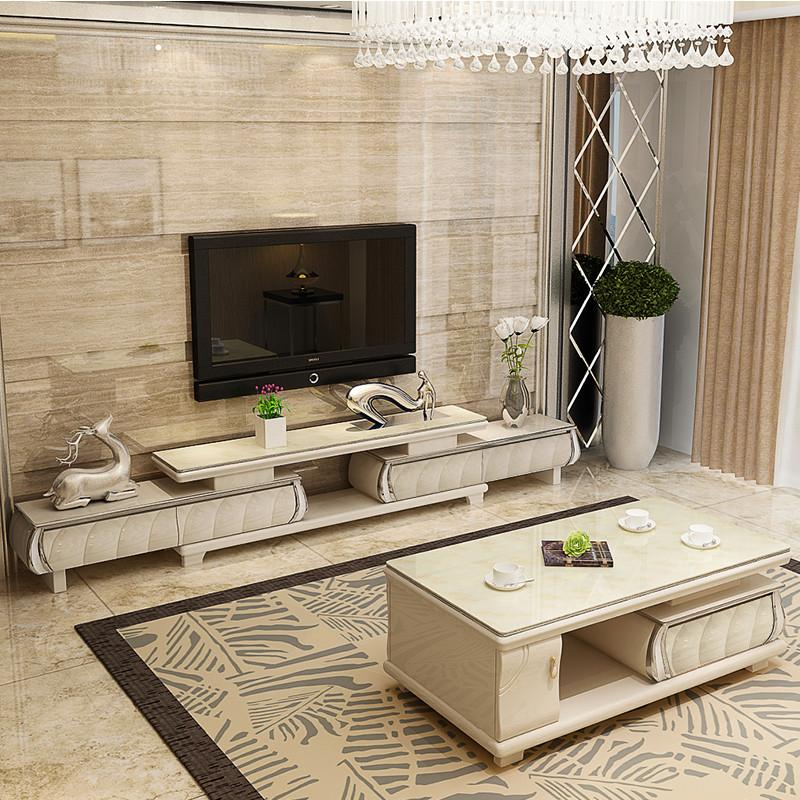 有居 欧式简约现代电视柜茶几组合套装 钢化玻璃可伸缩烤漆客厅影视柜