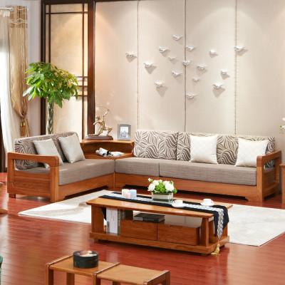 光明家具 简约现代纯实木沙发组合 中式橡木客厅双人位沙发单人位沙发