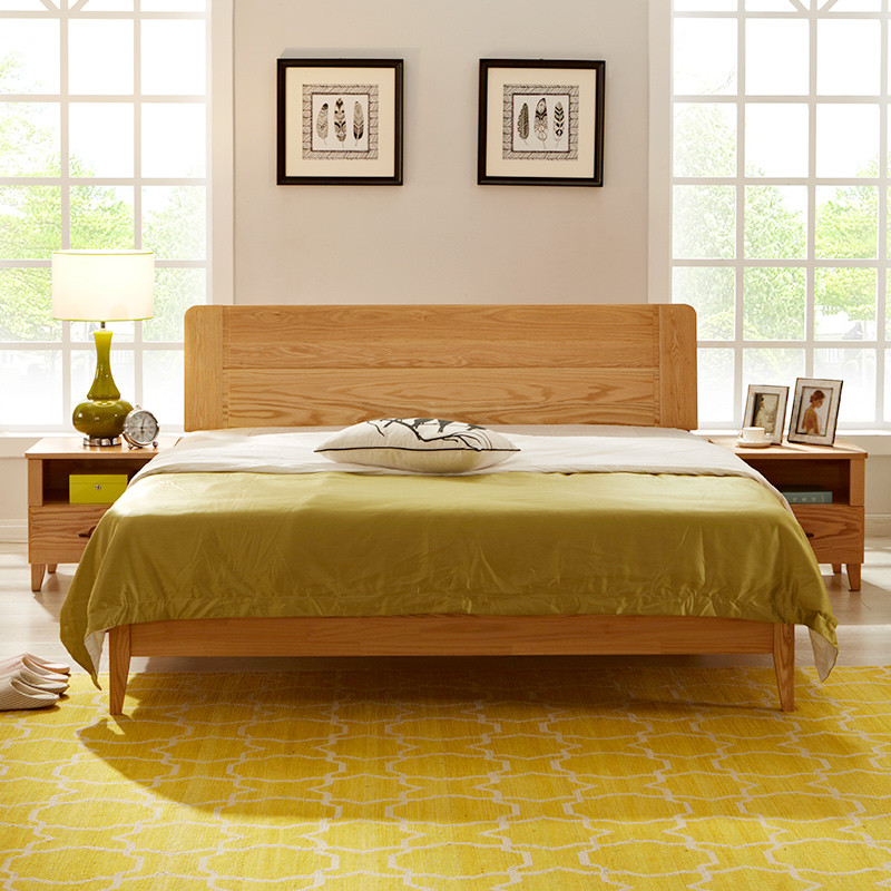 8米红橡木床北欧现代简约卧室实木家具双人床wx3-1523