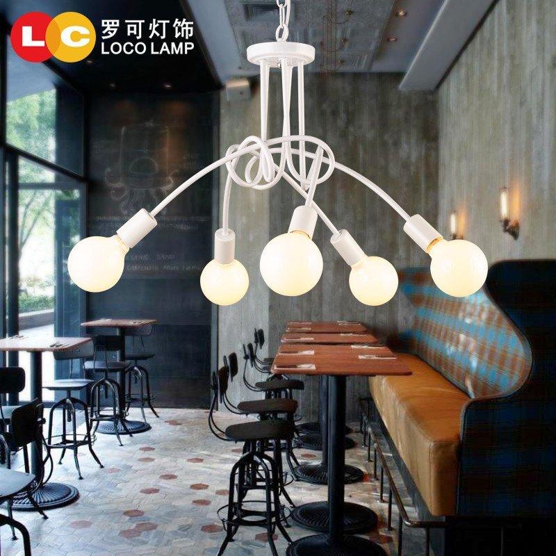 罗可韩式卧室客厅枝形吊灯铁艺艺术创意个性吊灯北欧简约服装店灯饰90