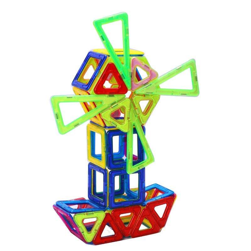 儿童磁力片积木拼插带磁性智慧片磁力棒建构片益智玩具 智慧磁片 198