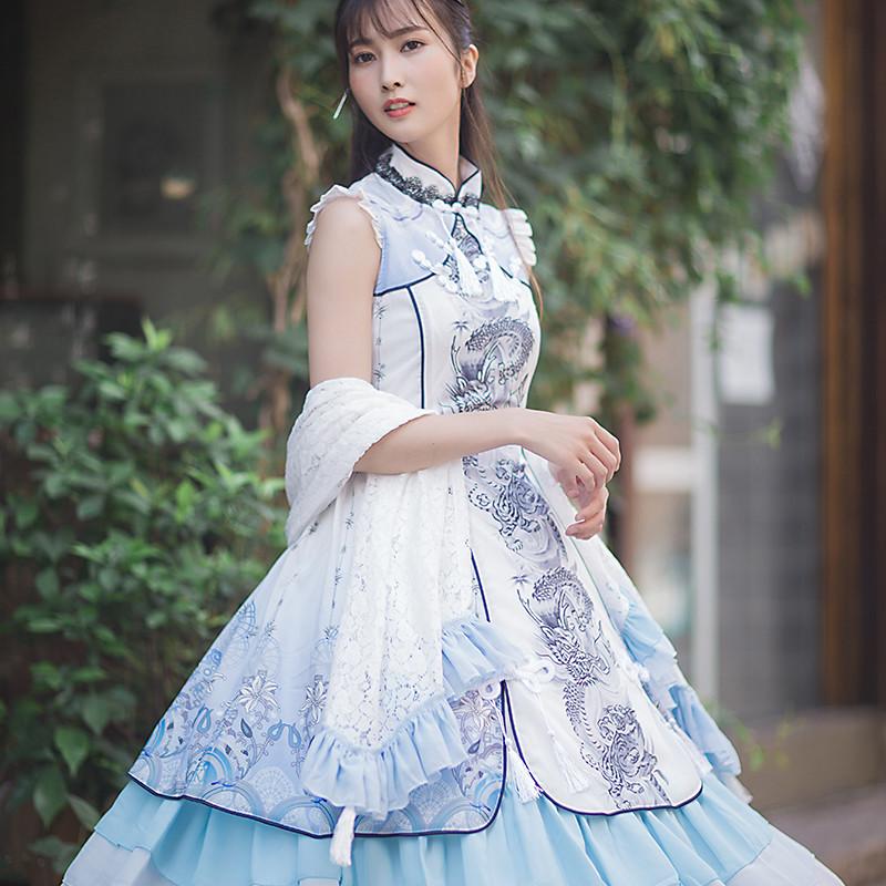 白虎 二次元衣服少女洛丽塔连衣裙宫庭古典洋装动漫cosplay服
