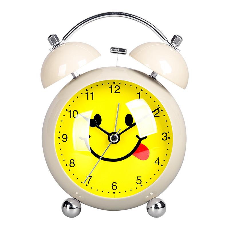 欧式创意时尚懒人金属可爱小闹钟指针静音灯床头钟学生闹钟ha68