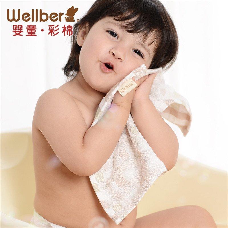 威尔贝鲁 纯棉纱布婴儿毛巾 宝宝洗脸巾小方巾 新生儿