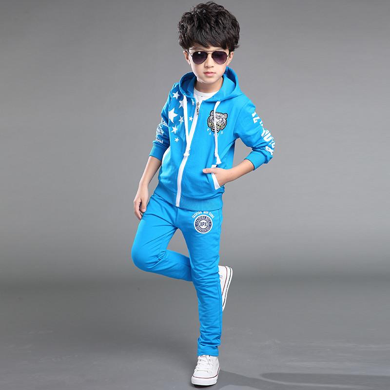 布奇酷童装 儿童春秋套装 中大童男童套装长袖韩版男孩运动装两件套