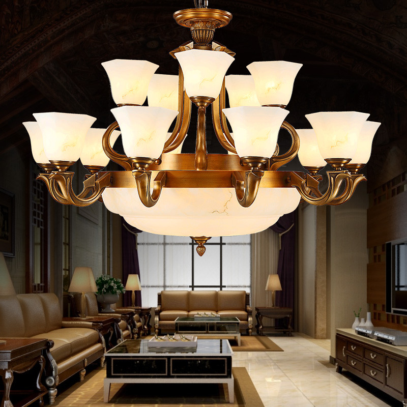 月影凯顿全铜云石灯欧式复式楼客厅大吊灯美式双层别墅灯大气灯饰