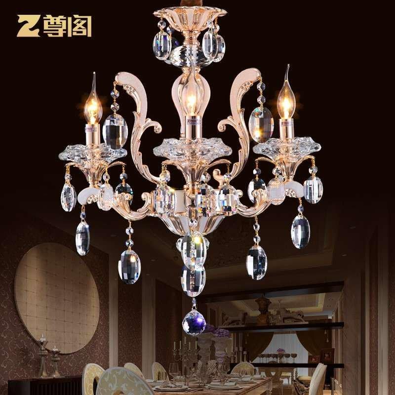 高档进口欧式锌合金水晶吊灯 现代别墅客厅蜡烛灯水晶