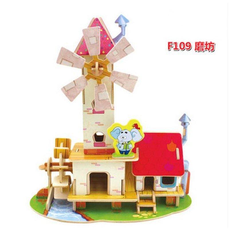 男女圣诞礼物儿童益智玩具 幼儿园手工拼装木头拼插立体房子制作小屋