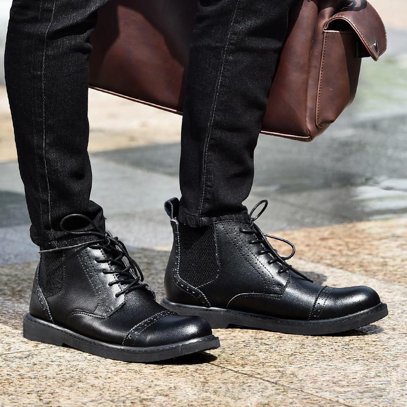 凡世界 冬季新款男士短靴真皮休闲鞋切尔西男靴英伦潮流皮靴高帮皮鞋