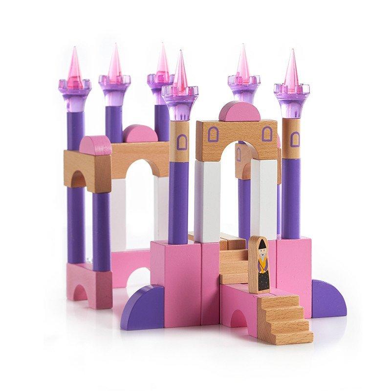城堡积木实木制儿童环保童话城堡积木套装童话城堡积木62件套